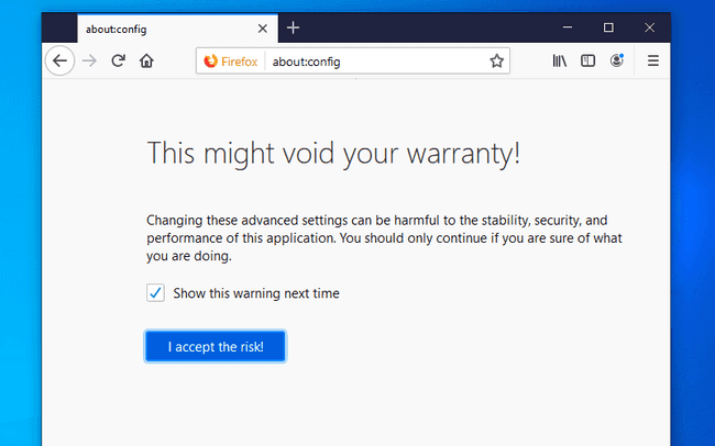 Firefox configuration warning